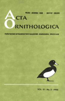 Acta Ornithologica ; vol 21, no 2 - Spis treści