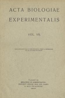 Acta Biologiae Experimentalis. Vol. VII, 1931/32