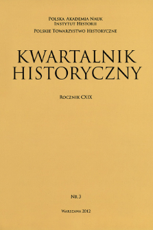 Kwartalnik Historyczny R. 119 nr 3 (2012), Strony tytułowe, spis treści