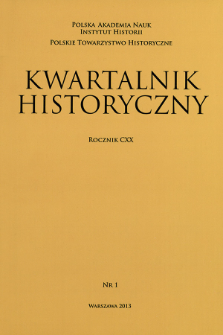 Kwartalnik Historyczny R. 120 nr 1 (2013), Title pages, Contents
