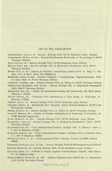 List of the Participants