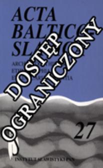 Acta Baltico-Slavica T. 27