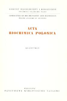 Acta biochimica Polonica, Vol. X, No.3, 1963