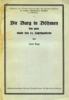 Die Burg in Böhmen bis zum Ende des 12. Jahrhunderts
