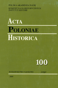 Acta Poloniae Historica T. 100 (2009), Title pages, Contents