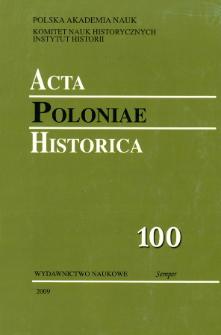 Acta Poloniae Historica T. 100 (2009), Strony tytułowe, spis treści