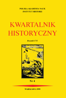 Kwartalnik Historyczny. R. 106 nr 4 (1999), Title pages, Contents