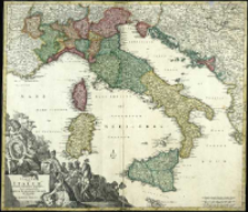 Statuum totius Italiæ novißima repræsentatio geographica simul ehibens Insulas Siciliæ, Sardiniæ, Corsicæ Et Maltæ