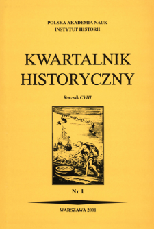 Kwartalnik Historyczny. R. 108 nr 1 (2001), Title pages, Contents