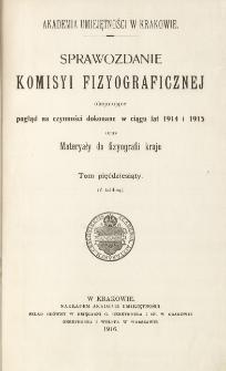 Sprawozdanie Komisji Fizjograficznej T. 50 (1914 i 1915)