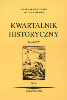Kwartalnik Historyczny. R. 107 nr 2 (2000), Title pages, Contents