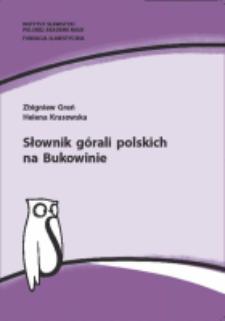 Słownik górali polskich na Bukowinie