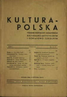 Kultura Polska : tygodnik poświęcony zagadnieniom kulturalno-artystycznym i oswiatowo-szkolnym 1939[1943] N.2-3