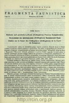 Badania nad prostoskrzydłymi (Orthoptera) Puszczy Kampinoskiej = Issledovaniâ nad prâmokrylymi (Orthoptera) Kampinosskoj Puŝi
