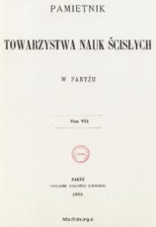 Pamiętnik Towarzystwa Nauk Ścisłych w Paryżu T. 7 (1875), Table of contents and extras