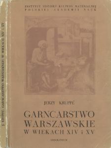 Garncarstwo warszawskie w wiekach XIV i XV