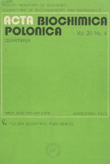 Acta biochimica Polonica, Vol. 20, No. 4, 1973