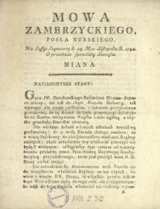 Mowa Zambrzyckiego, Posła Nurskiego, Na Sessyi Seymowey d. 15. Mca Listopada R. 1791. O proiektcie [!] sprzedaży Starostw Miana