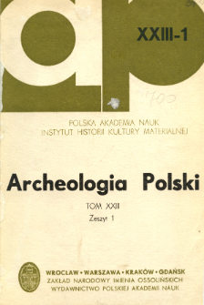 Archeologia Polski. Vol. 23 (1978) No 1, Reviews