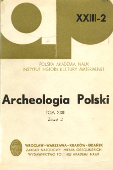Archeologia Polski. Vol. 23 (1978) No 2, Reviews