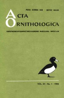 Acta Ornithologica ; vol. 22, no 1 - Spis treści