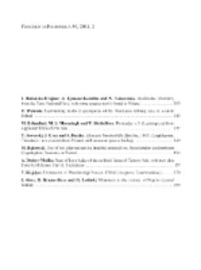 Fragmenta Faunistica - Spis treści vol. 54, no. 2