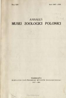 Annales Musei Zoologici Polonici ; t. 14 - Spis treści