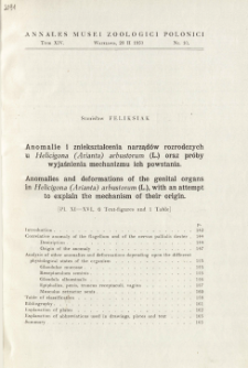Anomalies and deformations of the genital organs in Helicigona (Arianta) arbustorum (L.), with an attempt to explain the mechanism of their origin