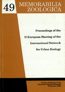 Proceedings of the II European Meeting of the International Network for Urban Ecology, [Mądralin near Warsaw on 15-17 December 1992]