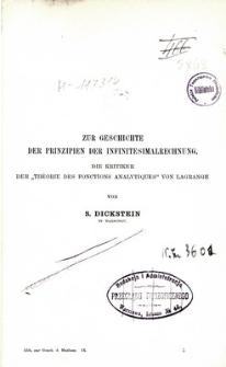 """Zur Geschichte der Prinzipien der Infinitesimalrechnung : die Kritiker der """"Théorie des fonctions analytiques"""" von Lagrange"""