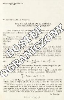 Sur un probleme de la theorie des processus stochastiques