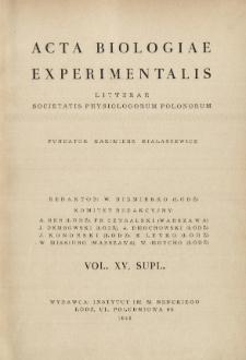 Acta Biologiae Experimentalis. Vol. XV, Supl., 1949