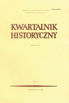 Kwartalnik Historyczny. R. 91 nr 2 (1984), Title pages, Contents