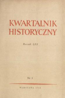Kwartalnik Historyczny R. 70 nr 1 (1963), Informacja archiwalna
