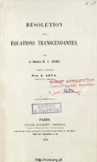 Résolution des équations transcendantes
