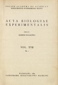 Acta Biologiae Experimentalis. Vol. XVII, No 1, 1956