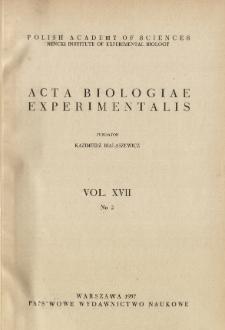 Acta Biologiae Experimentalis. Vol. XVII, No 2, 1957