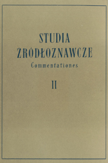 Studia Źródłoznawcze = Commentationes. T. 2 (1958), Title pages, Contents