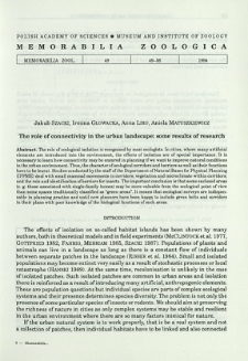 The role of connectivity in the urban landscape: some results of research