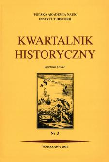 Kwartalnik Historyczny R. 108 nr 3 (2001), Strony tytułowe, Spis treści
