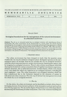 Ecological fundations for the management of the natural environment in urbanised conditions