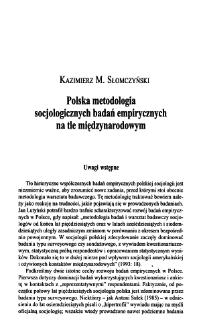 Polska metodologia socjologicznych badań empirycznych na tle międzynarodowym
