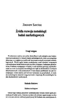 Źródła rozwoju metodologii badań marketingowych