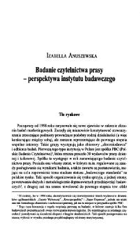 Badanie czytelnictwa prasy - perspektywa instytutu badawczego