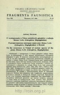 O występowaniu w Polsce niektórych gatunków z rodzaju Stenus Latr. (Coleoptera, Staphylinidae) = O rasprostranenii nekotoryh vidov roda Stenus Latr. (Coleoptera, Straphylinidae) v Pol'še