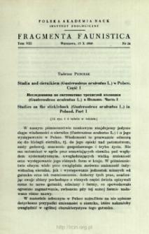 Studia nad ciernikiem (Gasterosteus aculeatus L.) w Polsce. Cz. 1 = Issledovaniâ po sistematike trehigloj kolûški (Gasterosteus aculeatus L.) v Pol'še. Č. 1 /