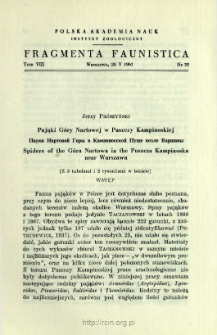 Pająki Góry Nartowej w Puszczy Kampinoskiej = Pauki Nartovoj Gory v Kampinosskoj Puŝe vozle Varšavy