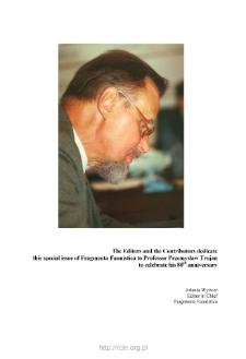 Professor Przemysław Trojan's 80th anniversary