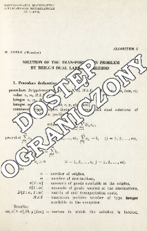 Algorithm 5 - Solution of the transportation problem by Brigg's dual labaling method
