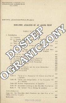 Semantic analysis of an algol text